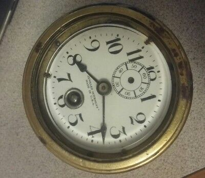 Vintage car automobile clock  with jewelled movement   ..key wind   heavy  brass