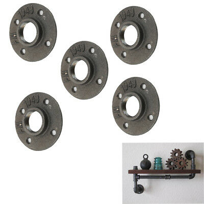 """5X 1"""" Malleable Threaded Black Floor Flange Iron Pipe Fittings Wall Mount"""