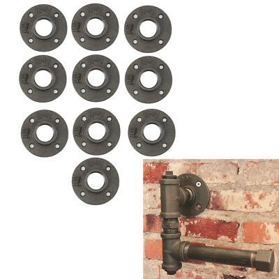 "10Pack 1"" Black Malleable Cast Iron Pipe Fittings Floor Flange Threaded Hole"
