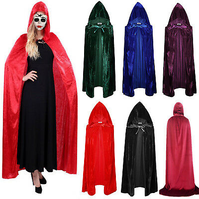 Unisex Velvet Hooded Cloak Wicca Robe Medieval Witchcraft Larp Cape Halloween