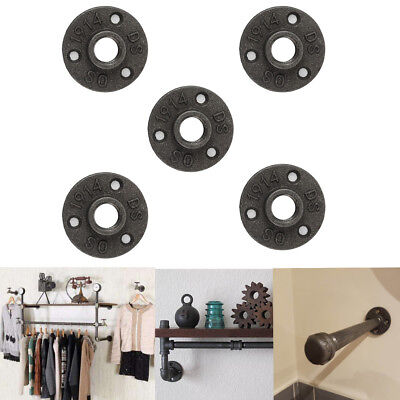 "5Pack 3/4"" Black Malleable Cast Iron Pipe Fittings Floor Flange Threaded Hole"