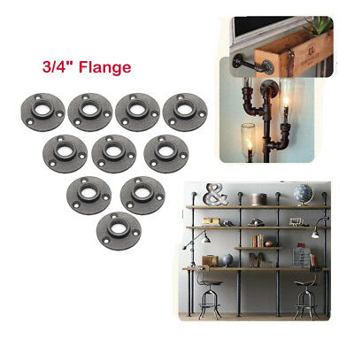 """10X 3/4"""" Malleable Threaded Black Floor Flange Iron Pipe Fittings Wall Mount"""