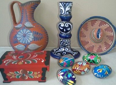 Vintage Mexican Lot painted pieces pottery & wooden, signed candlestick