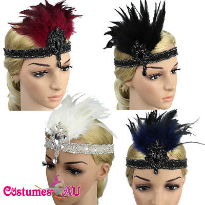 20s Headband Feather Black Red Bridal 1920s Gatsby Flapper Headpiece Gangster