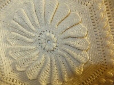 """Antique Bed Coverlet Hand Made Crocheted Cotton 58X100"""" Exquisite Stitch work"""