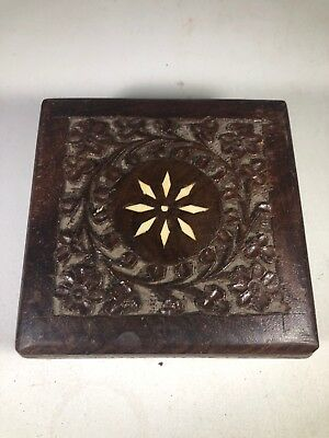 Vintage Hand Carved Wood Box Ornate Floral Wooden Jewelry Trinket brass hinges