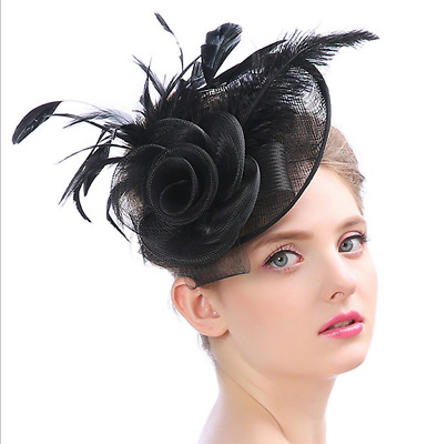 Feder Fascinator Hut Stirnband Feder Party Pillbox Hut Derby Hut Schwarz  OL