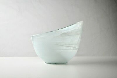 Mikasa Style white + Clear Serving Bowl W/- Swirl Glass Design - Asymerical