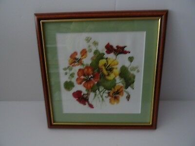 Completed and framed cross stitch picture Primroses Flowers