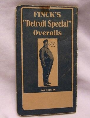 1900's W. M. Finck & Co. Finck's Detroit Special Denim Overalls Pocket Ledger
