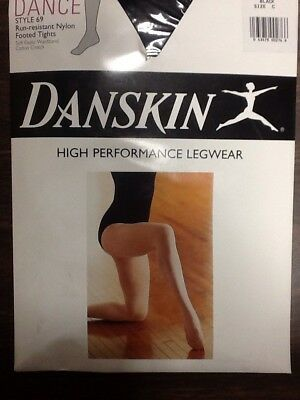 Danskin Dance Run-resistant Nylon Footed Tights - Style 69 - Black - Size C
