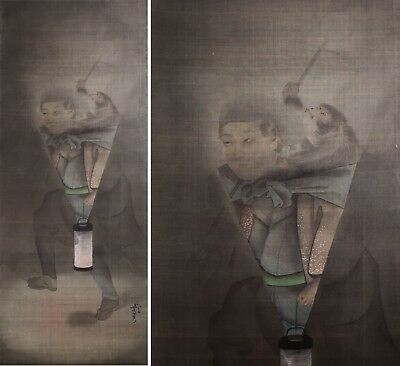 Antique 19th Century Japanese Painting on Silk of Man with Monkey and Lantern