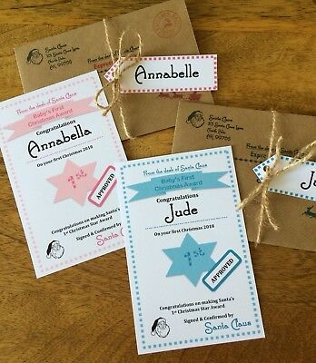 """Personalised Baby's First Christmas"""" Nice"""" List Letter/Certificate From Santa"""