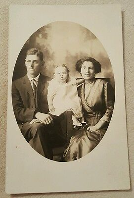 Vintage Antique Real Photo Postcard Young Family With baby black white portrait