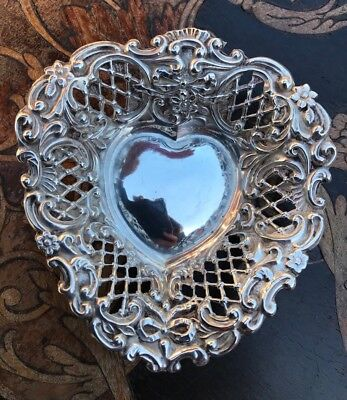 Antique Victorian Heart Shaped Sterling Silver Jewellery/trinket Dish - 1897