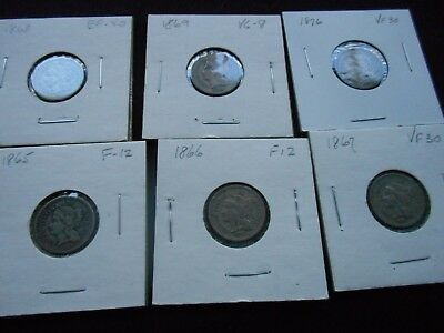6 Different 3 Cent Pieces -- Circulated
