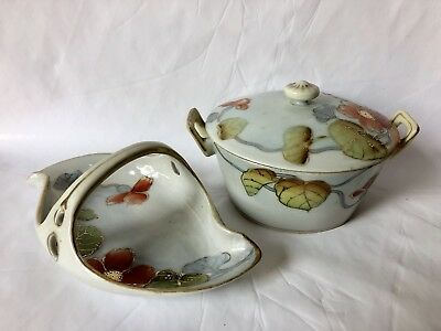 Vintage Hand Painted Jewlery Tray And Matching Covered Dish