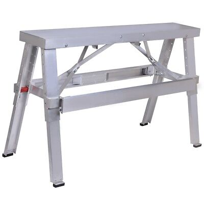 Heavy Duty Aluminum Drywall Walk Up Folding Bench Height Adjustable 18-30 Inches