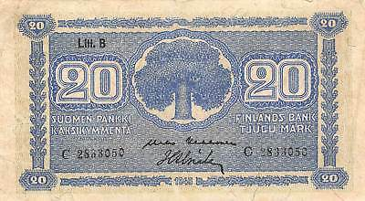 Finland  20  Mark  1945  Series  C  Circulated Banknote LBjW