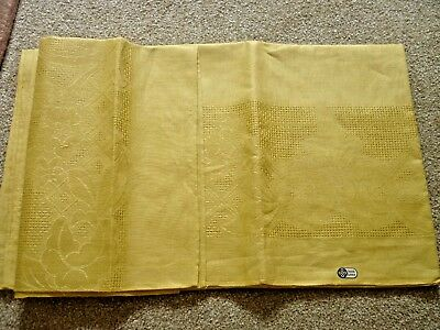 A Vintage Yellow Pure Irish Linen Tablecloth - Never Used