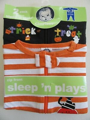 NIP Gerber Baby 0-3m Halloween Sleep'n Play Outfits Trick r Treat 2pk Infant Set