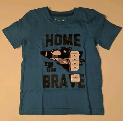 NWT Jumping Beans Home Of The Brave Toddler Tshirt 3T Blue Airplane Cotton Boys