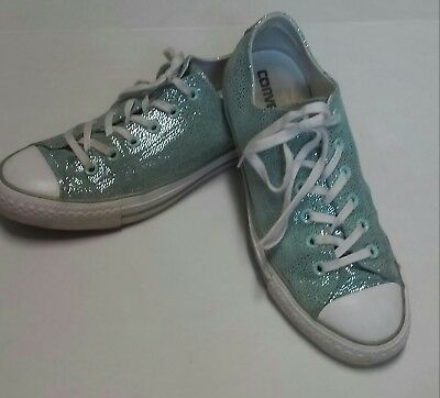 Converse 9.5 Womens Chuck Taylor All Star Turquoise Metallic Sneakers