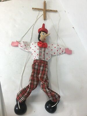 """Vintage Pinocchio hand painted wood marionette puppet 18"""" tall"""