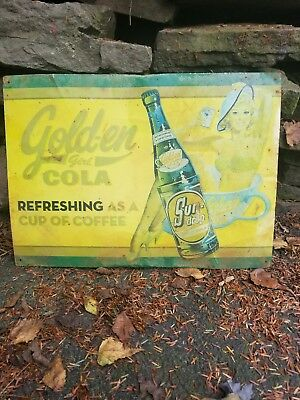 vintage old Golden cola soda sign general store gas station coke pepsi