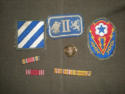 ORIG. WW2 LOT of RIBBON BARS,AAF COLLAR BRASS,INFANTRY/CORPS PATCHES = 7 Pieces