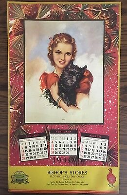 Vintage Antique 1940 Bishop's Stores Cuba MIssouri Advertising Calendar