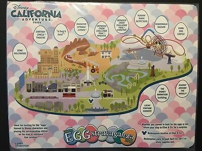 Disneyland California Adventure Disney Eggstravaganza 2017 Map And Stickers, New
