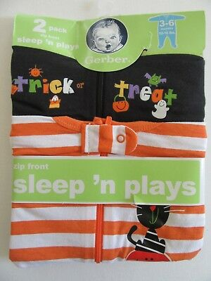 NIP Gerber Baby 3-6m Halloween Sleep'n Play Outfits Trick r Treat 2pk Infant Set