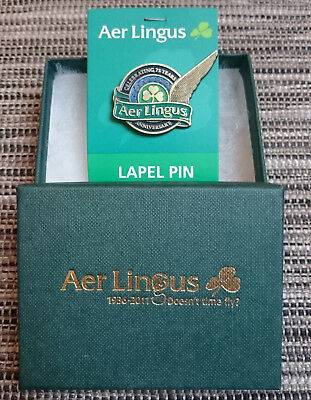 Aer Lingus Crew Stewardess Flight Attendant Badge Pin 75 Years in Box New