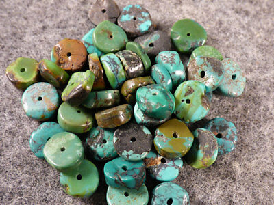 10 Original Navajo Turquoise Trade Beads Discs Beautiful Colors c1700's