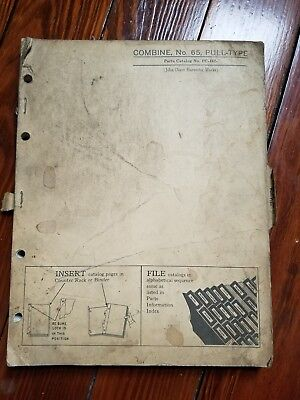 John deere parts catalog insert, 1958 Combine No.65 Harvester Works
