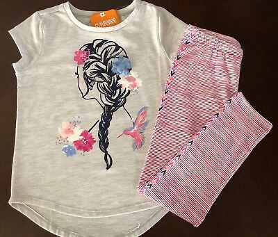 NWT Gymboree Girl Bright Days Ahead Braid Tee & Leggings Outfit 5 6 14
