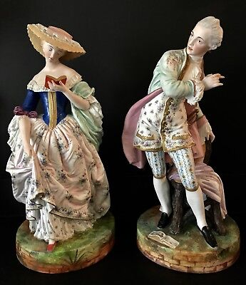 Antique French Jean Gille Pair Of Bisque Figurines Very Rare