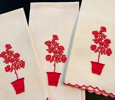 Vintage Madeira Linen Red Roses In Flower Pot Hand Embroidery Set 3 Guest Towels