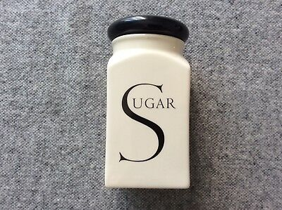 """Kitchen Canister """"Script"""" Sugar Pot in Cream with Black Lid"""