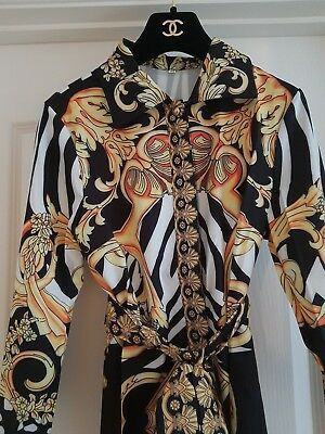 Ladies gold black & white baroque versace style shirt dress Size  8 10 12