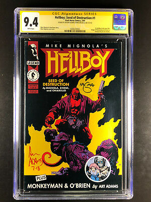 Hellboy 1 CGC 9.4 signed by Arthur Adams Mike Mignola 1st Hellboy own title