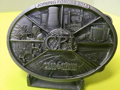 Commemorative CB&I And Shaw Belt Buckle And Lapel Pin Set 2013