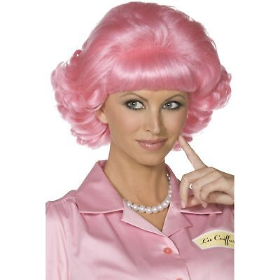 Frenchy Wig Pink Short Curly Grease Ladies Womens Fancy Dress Costume Accessory