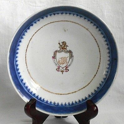 C19Th Chinese Blue And White Dish With A Coat Of Arms