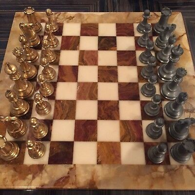 Rare & Unique Vintage Onyx Chessboard with Gold Plated & Pewter Pieces. Stunning