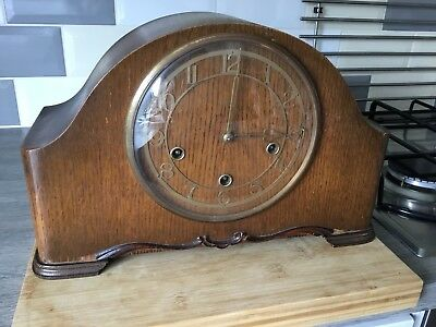 Vintage Wooden Mantle Clock Smiths Enfield With Westminster Chimes