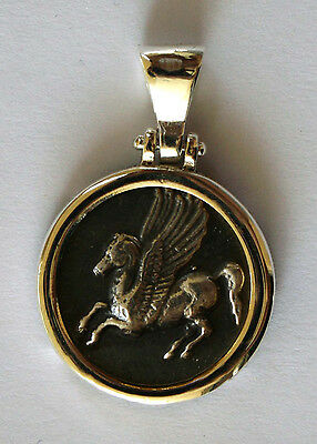 PEGASUS  HISTORY GREEK COIN BIG SIZE Pendant sterling silver 925 code 6