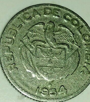 A VERY FINE 1954 B COLOMBIA 10 CENTAVOS COIN-Free shipping.