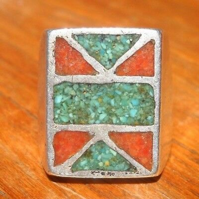 Vintage Old Pawn Navajo Silver Inlaid Ring - Turquoise & Coral -